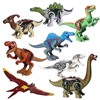 8pcs World Dinosaurs Building Bricks Blocks Figury