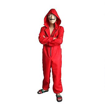 Angelaicos Unisex Red Jumpsuits Mask Halloween Party Costume Full Set
