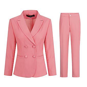 Mile Women's 2 Piece Slim Fit Work Suit Set Two Button Blazer And Pants