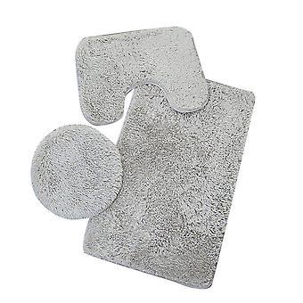 Silktaa Three-piece Set Of Solid Color Pv Velvet Mat For Bathroom Non-slip
