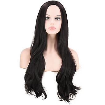 Dames Black Long Straight Curly Hair Wig, kan worden geverfd Pruik, Zijdeachtig, volledig hittebestendig synthetisch, natuurlijk en ademend