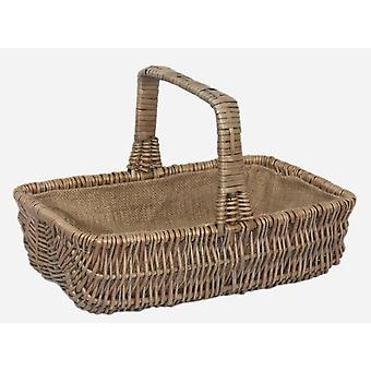 Large Wicker Rectangular Garden Basket Trug