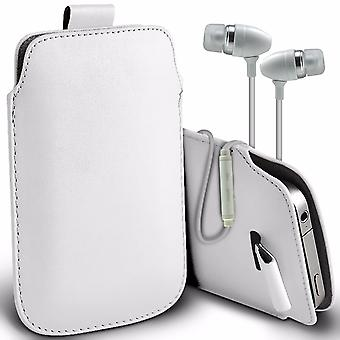 i-Tronixs Premium Stylish Faux Leather Pull Tab Pouch Skin Case Cover with Aluminium Stereo Hands Free Earphone For Samsung Z1 (4