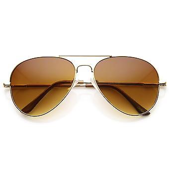 Classic Metal Aviator Sunglasses w/ Spring Temples