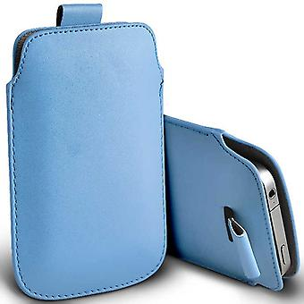 Kingzone z1 plus Slip In Pull Tab Faux Leather Pouch Case Cover (Baby Blue)