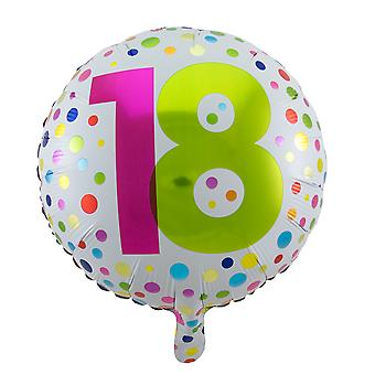 Folienballon Geburtstag Volljährig Zahl 18 rainbow dots