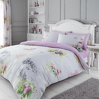 Madeline Floral Butterfly Duvet Quilt Cover Polycotton Printed Bedding Set