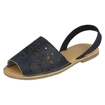 Ladies Leather Collection Flower Design Mules F00144 - Navy Leather - UK Size 7 - EU Size 40 - US Size 9