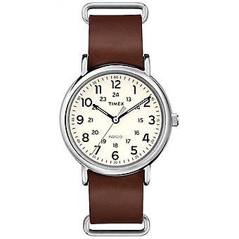 Timex originale Weekender braun Leder Armband T2P495 Uhr