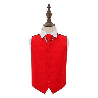 Rode Paisley bruiloft gilet & Cravat Set voor jongens