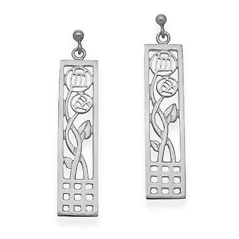 Sterling Silver Scottish Design Charles Rennie Mackintosh design Pair of Earrings - E475