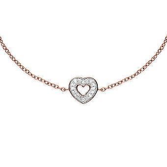 Classic Round Diamond Heart Bracelet in Rose Gold Plated 925 Sterling Silver 270L010901925