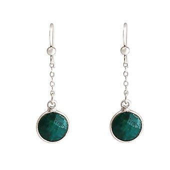 GEMSHINE women's earrings in 925 silver. 3.5cm Yoga Earrings Emeralds