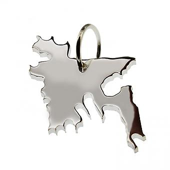 Trailer map BANGLADESH pendant in solid 925 Silver