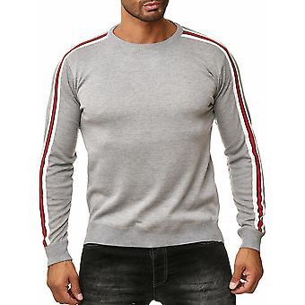 Mens Pull rayé Fine tricoté rétro manches longues Sweat Shirt Casual
