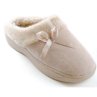SlumberzzZ Womens Microsuede with Ribbon Mule Slippers