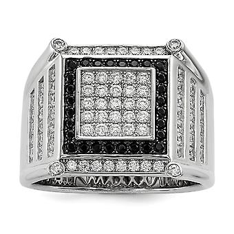 925 Sterling Silver Pave Rhodium plated and CZ Cubic Zirconia Simulated Diamond Brilliant Embers Black And White Mens Ri