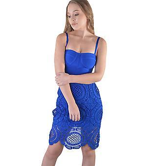 LMS polvi pituus Side ja virkattu mekko sininen