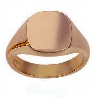 9ct Rose Gold 14x13mm tömör sima párna Signet Ring méret W