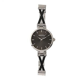 Bertha Amanda Criss-Cross Bracelet Watch - Silver/Black