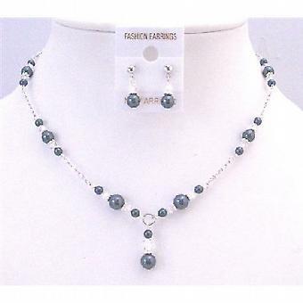 Modne eleganckie stylowe Tahitian perły & jasne kryształy ślubne Biżuteria