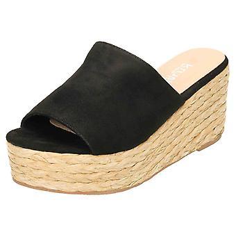 Krush Black Wedge Woven Heel Platform Sandal Mule Peep Toe
