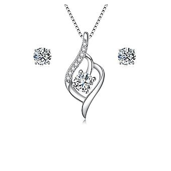 925 Sterling Silber Flame Design Aaaaa Zirkonia Schmuck-Set