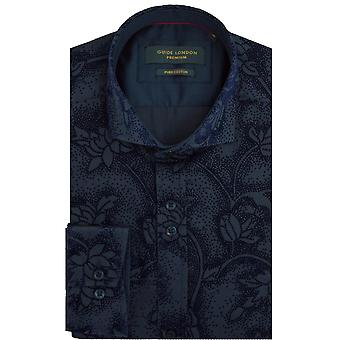 Guide London Sateen Mens Shirt With Floral Velvet Touch Flock Print