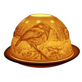 Light-Glow Robin Lithophane Dome Tealight Candle Holder