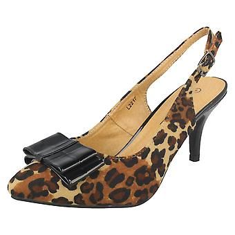 Ladies Anne Michelle Bow Detail Slingback Court Shoe