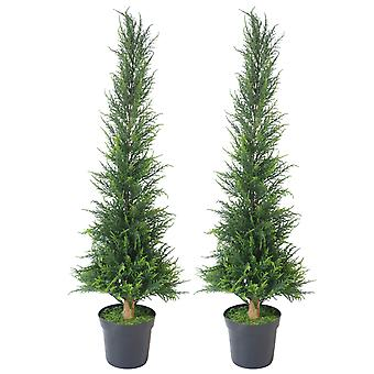 PAIR of 120cm (4ft) Artificial Cedar Cone Cypress Conifer Topiary Trees