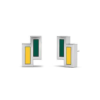 North Dakota State University Sterling Silver Asymmetrisk emalj Stud örhängen i grönt och gult