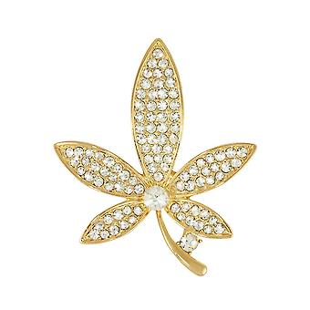 Eternal Collection Prosper Clear Crystal Gold Tone Floral Brooch
