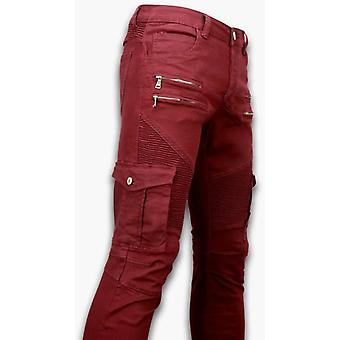 Ripped Jeans - Slim Fit Biker Jeans Side Pocket & Zippers - Bordeaux