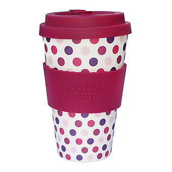 Ecoffee Cup roze Polka met kastanjebruine Silicone 14oz