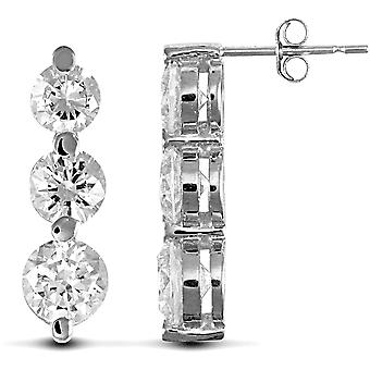 Jewelco London Ladies Solid 9ct White Gold White Round Brilliant Cubic Zirconia 3 Stone Trilogy Stud Drop Earrings, 4-5mm