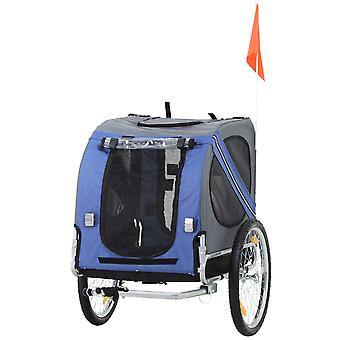 PawHut Pet Bicycle Trailer Dog Cat Bike Carrier Outdoor Water Resistant Blue