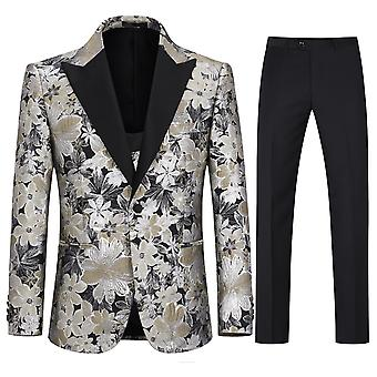 Allthemen Men's Tuxedos 3-Piece Wedding Banquet Floral Blazer&Vest&Pants