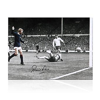 Denis Law Signed Scotland Football Photo: Goal Against England