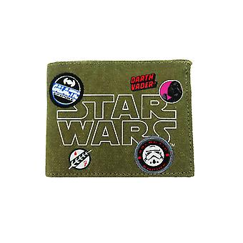 Star Wars Patches Badges Canvas Bill Fold portemonnee groen kaki