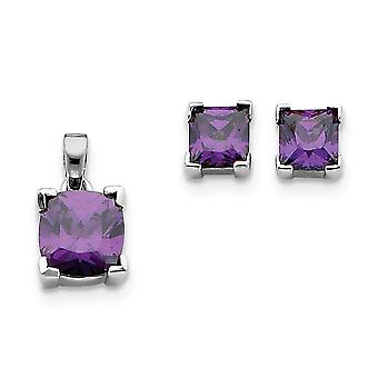 925 Sterling Silver Polished Post Earrings Purple CZ Cubic Zirconia Simulated Diamond Pendant Necklace and Earring Set J