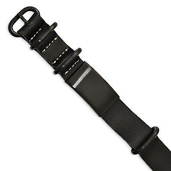 19.75mm Stainless Steel Geborsteld Zwart Ip Zwart Lederen Adj. ID Armband Sieraden Geschenken voor vrouwen