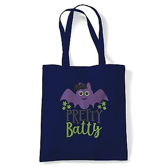 Pretty Batty Tote | Halloween Fancy Dress Costume Trick Or Treat | Reusable Shopping Cotton Canvas Long Handled Natural Shopper Eco-Friendly Fashion