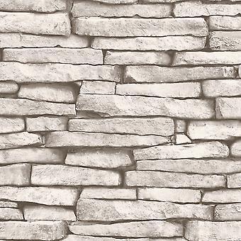White and Silver Slate Stone Effect Wallpaper Fine Decor FD31292