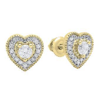 Dazzlingrock Collection 0.30 Carat (ctw) 10K Round Cut White Diamond Ladies Heart Shape Stud Earrings 1/3 CT, Yellow Gold