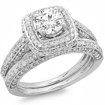 Dazzlingrock Collection 2.00 Carat (ctw) 14k Round Diamond Ladies Halo Style Bridal Engagement Ring Set Matching Band 2 CT, White Gold