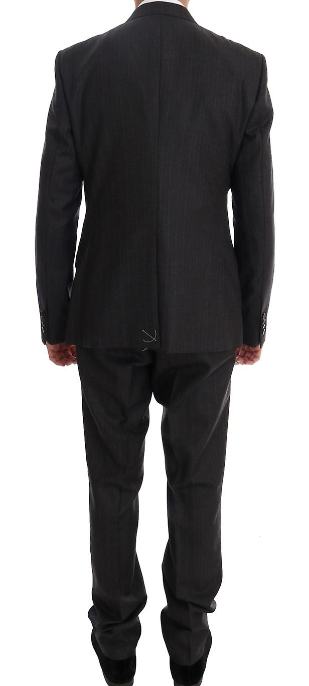 Gray Striped Two Button Martini 3 Piece Suit