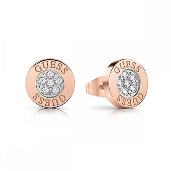 Guess Jewellery Guess Button Logo Rose Gold Crystal Studs UBE78024