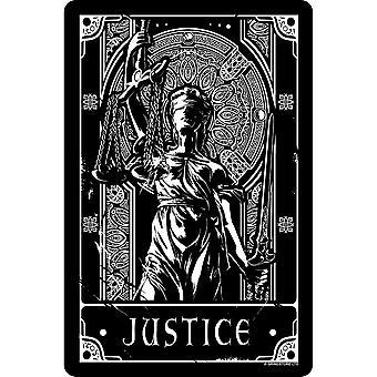 Deadly Tarot Justice Tin Sign