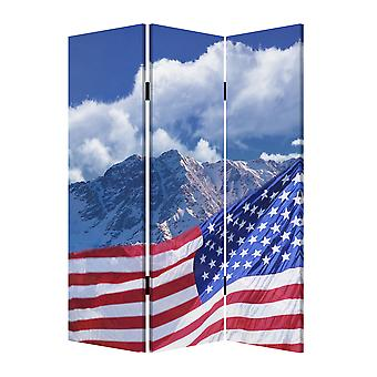 "1"" x 48"" x 72"" Multi Color Wood Canvas Model American Flag  Screen"